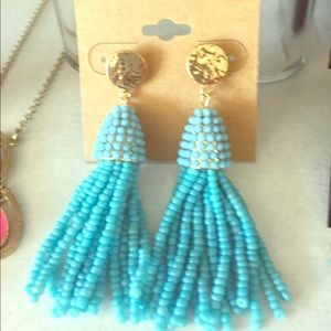 Jewelry - Beaded tassel earrings turquoise